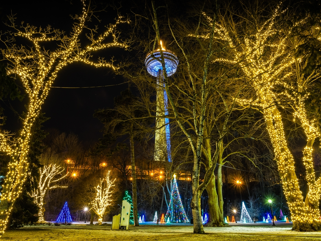 Skylon Tower at Night - This collection was taken during the final weekend of the Festival of Lights during January in Niagara Falls, Ontario.